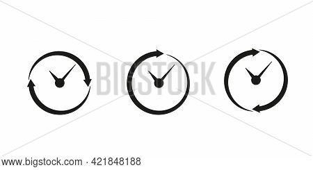 Set Timer Icon, Hour Time With Arrows And Circle Watch, Stopwatch. Service 24 Hours Day. Deadline, R