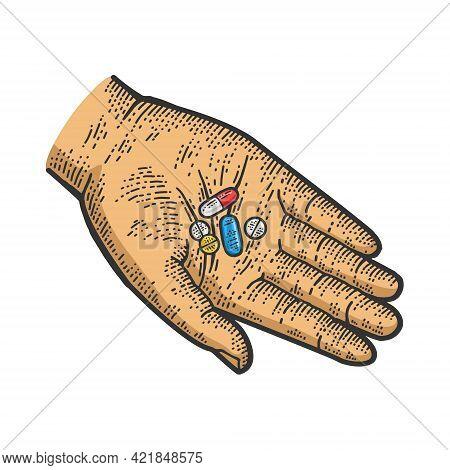 Medicine Drug Pills In Hand Color Line Art Sketch Engraving Vector Illustration. T-shirt Apparel Pri