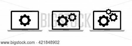 Computer Software Sign. Technical Support Concept. Computer Service. Gears On Screen Set. Laptop And