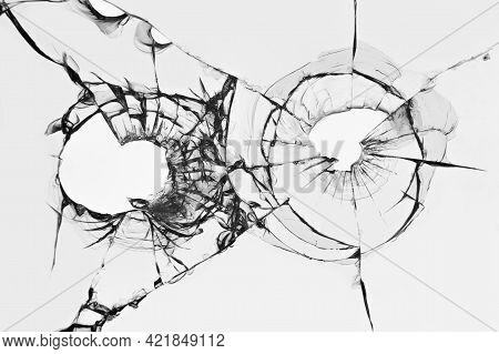 Shot Hole, Broken Glass, Cracked Window, Abstraction Of Cracked Broken Glass Texture For Design
