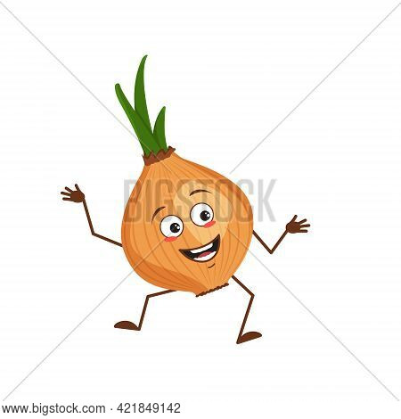 Cute Onion Character With Joy Emotions, Smiling Face, Happy Eyes, Arms And Legs. A Mischievous Veget