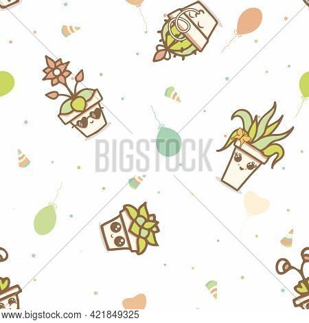 Vector Party Kawaii House Plants In Terracotta Pots On White Seamless Pattern Background. Perfect Fo