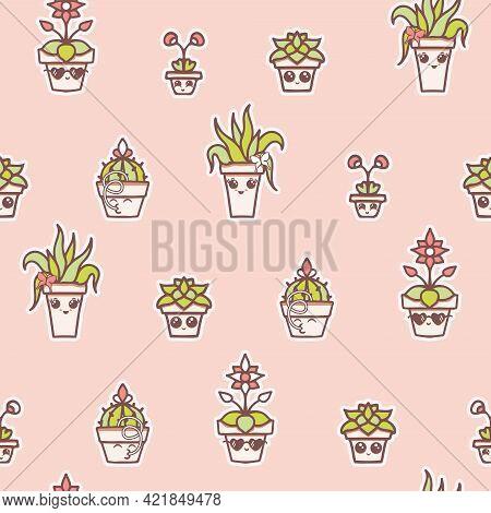 Vector Fun Kawaii House Plants In Terracotta Pots In Line On Pinkseamless Pattern Background. Perfec