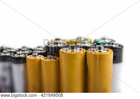 Aa And Aaa Batteries On A White Background