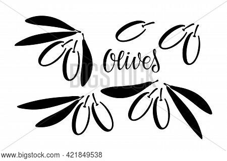 Olives Branches. Black And White Silhouette. Branch With Berries And Text. Botanical Rustic Trendy G