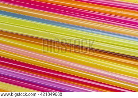 Drinking Straws For Party With Copy Space. Top View For Design. Mixed Colors Of Plastic Straws For B