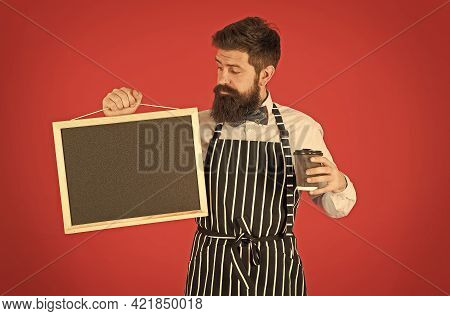 Morning Vibes In Cafe. Hipster Barista Man With Beard. Hipster Professional Barista In Apron Uniform
