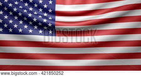 Hanging Wavy National Flag Of Usa With Fabric Texture. 3d Render.