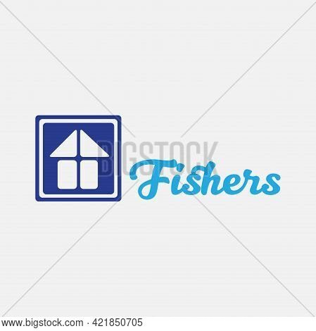 Fishers Home Vector Logo. Blue Square Vector Logo