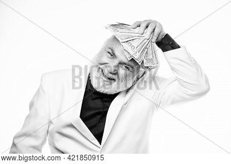 Cash Security. Rich Grandpa. Successful Lucky Businessman. Senior Man Pensioner Hold Cash Money. Ear