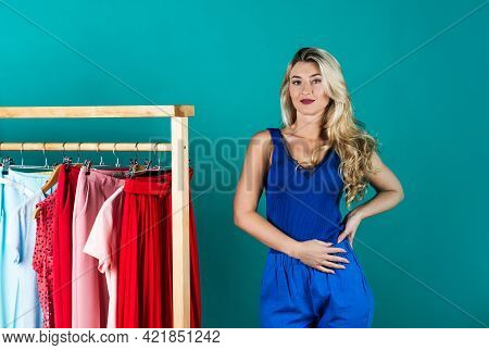 Blue Is My Color. Consumer Choosing Garment. Woman Choose Outfit In Wardrobe.