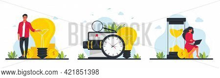 Business Idea Audit Concept.collection Scenes With Men And Women Taking Part In Business Activity On