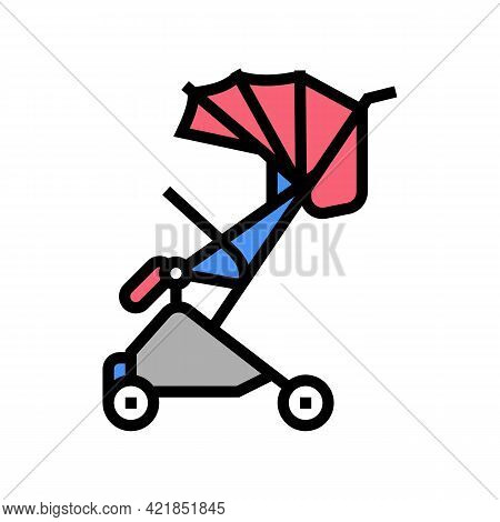 Stroller Walk Baby Color Icon Vector. Stroller Walk Baby Sign. Isolated Symbol Illustration