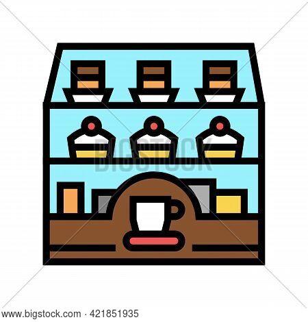 Dessert Showcase In Coffee Cafe Color Icon Vector. Dessert Showcase In Coffee Cafe Sign. Isolated Sy