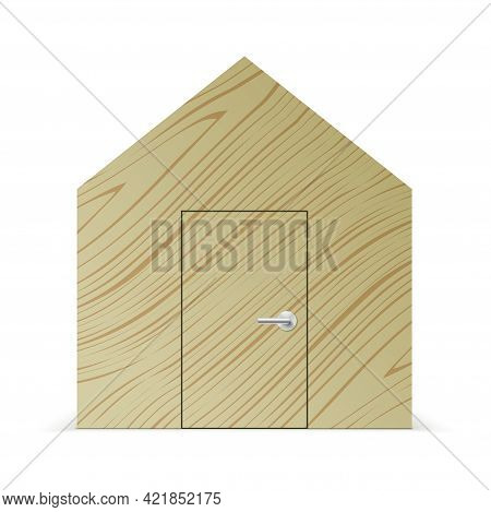 Abstract Wooden House In A Front View.