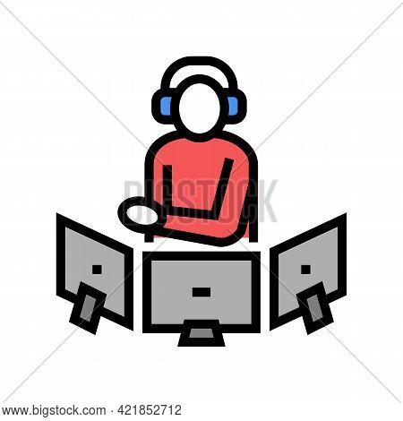 Dispatcher Controlling Flight Way Color Icon Vector. Dispatcher Controlling Flight Way Sign. Isolate