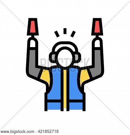 Airport Employee Direct Plane To Runway Color Icon Vector. Airport Employee Direct Plane To Runway S