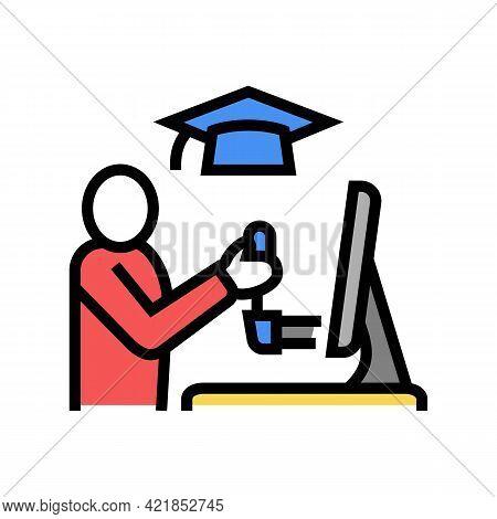 Education Flight Simulator On Computer Color Icon Vector. Education Flight Simulator On Computer Sig