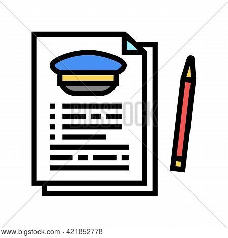 Agreement For Education In Flight School Color Icon Vector. Agreement For Education In Flight School