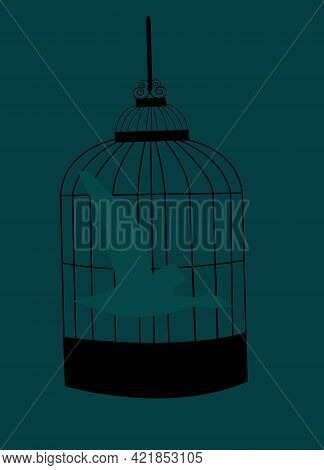 Illustration Of A Silhouette Of A Bird Flying In A Bird Cage , As Not Being Certain If The Bird Is C