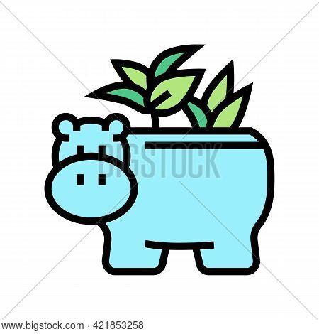 Pot In Hippopotamus Form For House Plant Color Icon Vector. Pot In Hippopotamus Form For House Plant