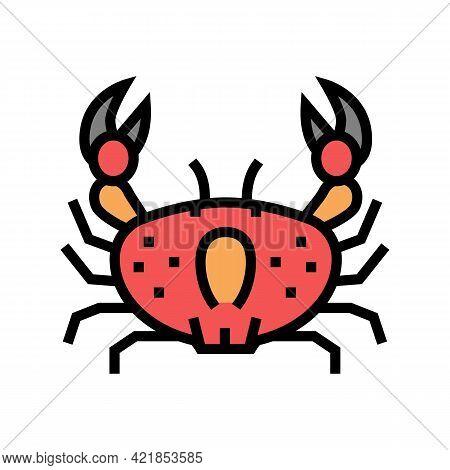 Crab Ocean Color Icon Vector. Crab Ocean Sign. Isolated Symbol Illustration