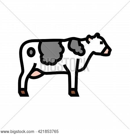 Cow Domestic Animal Color Icon Vector. Cow Domestic Animal Sign. Isolated Symbol Illustration