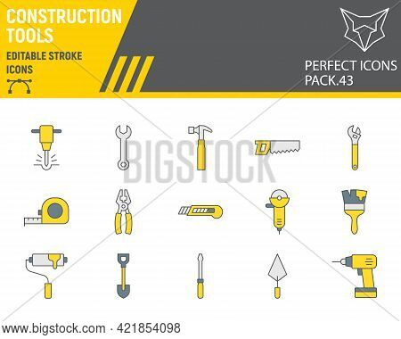 Construction Tools Color Line Icon Set, Tools Collection, Vector Graphics, Logo Illustrations, Repai