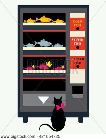 Illustration Of A Cat At A Vending Machine Trying To Choose Between 3 Types Of Fish, Humorous Concep