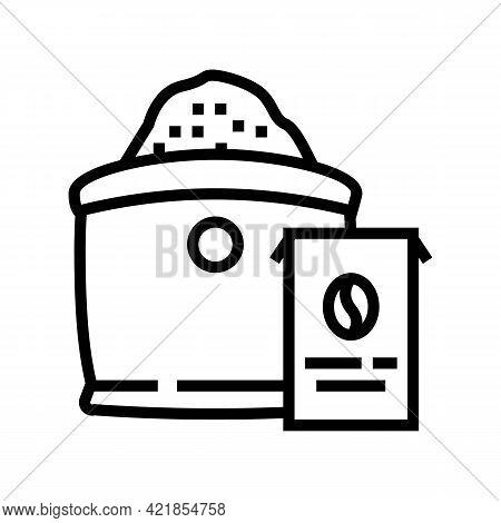 Ground Coffee Bag Line Icon Vector. Ground Coffee Bag Sign. Isolated Contour Symbol Black Illustrati