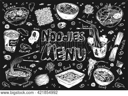 Vector Illustration. Hand-drawn Sketches Of Food. Doodle Types Of Noodles: Soba, Funchose, Udon, Ram