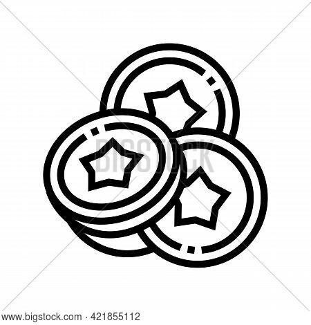 Coins For Betting In Financial Game App Line Icon Vector. Coins For Betting In Financial Game App Si
