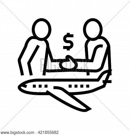 Charter Flight Line Icon Vector. Charter Flight Sign. Isolated Contour Symbol Black Illustration