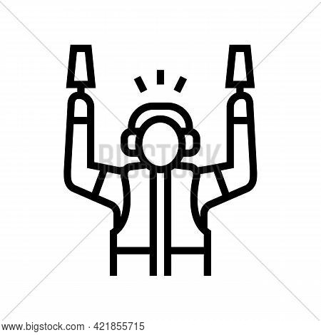 Airport Employee Direct Plane To Runway Line Icon Vector. Airport Employee Direct Plane To Runway Si