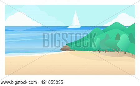Illustration Of A Seascape With A Sailboat On The Background Of The Sky And Mountains. Background Wi