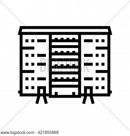 Cooperative House Line Icon Vector. Cooperative House Sign. Isolated Contour Symbol Black Illustrati