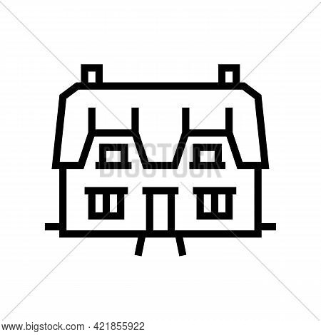 Cottage House Line Icon Vector. Cottage House Sign. Isolated Contour Symbol Black Illustration
