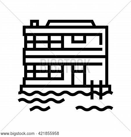Floating On Water Residence House Line Icon Vector. Floating On Water Residence House Sign. Isolated