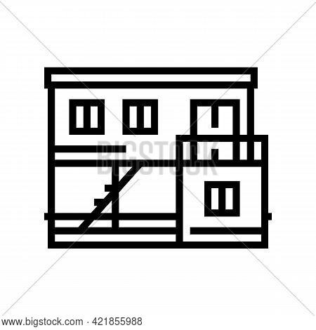 Container Home Line Icon Vector. Container Home Sign. Isolated Contour Symbol Black Illustration