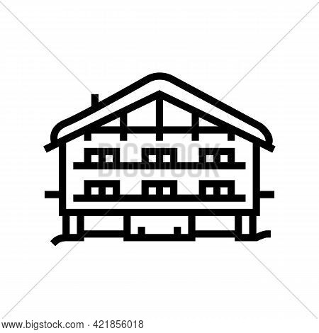 Chalet House Line Icon Vector. Chalet House Sign. Isolated Contour Symbol Black Illustration