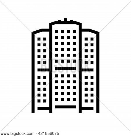Apartment House Line Icon Vector. Apartment House Sign. Isolated Contour Symbol Black Illustration