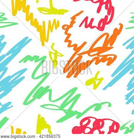 Multicolored Vector Seamless Pattern Hand Drawn Scrawl Sketch. Freehand Scribble Line Drawing In Chi