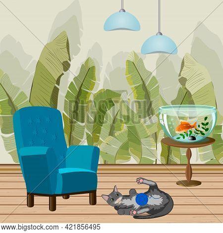 Room Interior With Decor Elements.furniture, Aquarium And Cat In A Room Interior Vector Illustration