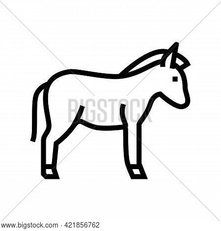 Donkey Domestic Animal Line Icon Vector. Donkey Domestic Animal Sign. Isolated Contour Symbol Black