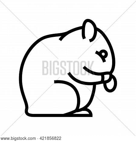 Hamster Pet Line Icon Vector. Hamster Pet Sign. Isolated Contour Symbol Black Illustration