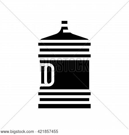 Water Bottle For Prepare Coffee Glyph Icon Vector. Water Bottle For Prepare Coffee Sign. Isolated Co
