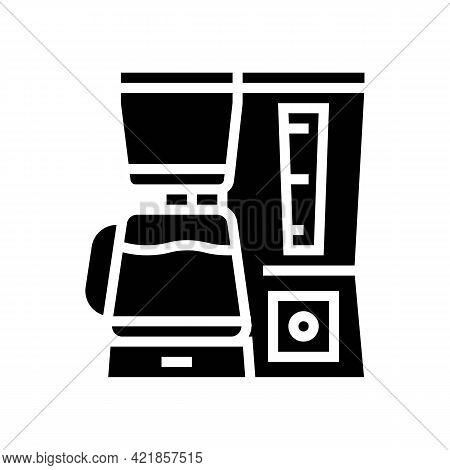Domestic Coffee Machine Glyph Icon Vector. Domestic Coffee Machine Sign. Isolated Contour Symbol Bla