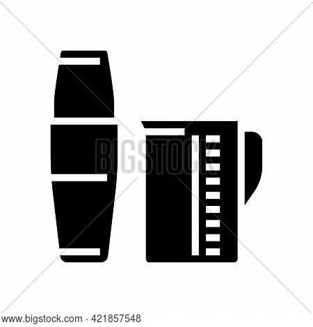 Measuring Cup And Mixer For Make Coffee Cocktail Glyph Icon Vector. Measuring Cup And Mixer For Make