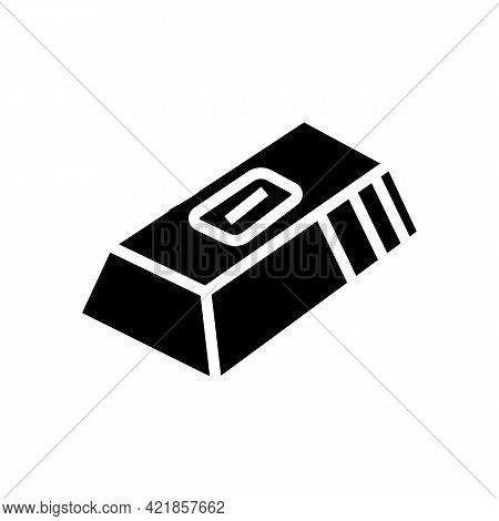 Gold Ingot Gambling Video Game Glyph Icon Vector. Gold Ingot Gambling Video Game Sign. Isolated Cont