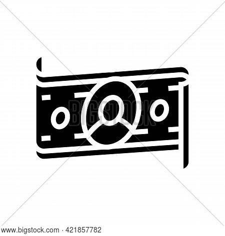 Dollar Banknote Of Business Simulator Application Glyph Icon Vector. Dollar Banknote Of Business Sim